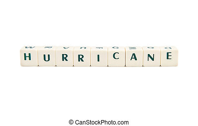 HURRICANE white cube text on white background