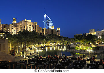 Madinat Jumeirah at dusk. Dubai, United Arab Emirates
