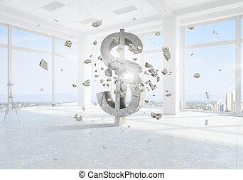Dollar currency symbol - Big dollar symbol on modern office...