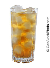 Ice tea - Glass of iced tea isolated on white background