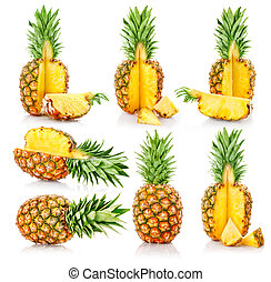 set fresh pineapple fruits with cut