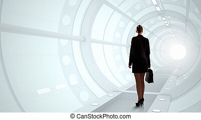 Woman in futuristic interior - Businesswoman standing in...