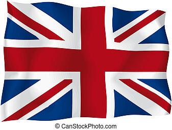 United Kingdom - UK flag - UK wavy flag isolated on white...