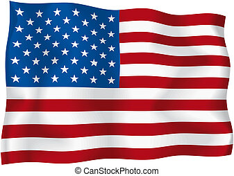 USA - American flag - American wavy flag isolated on white...