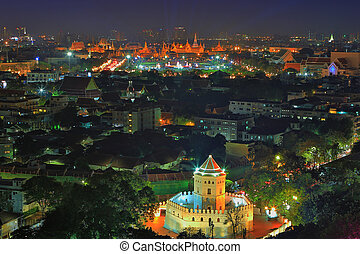 beautiful night city scape of ancient bangkok thailand capital landmark