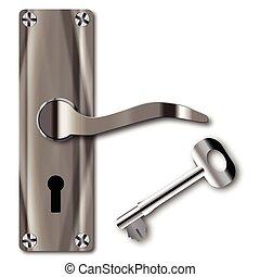 Door Handle And Key - A typical metal door handle and key...