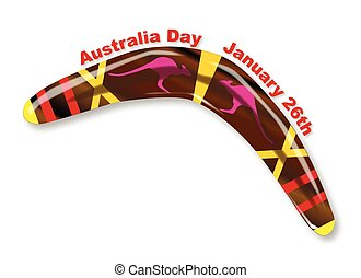 Australia Day Decorated Boomerang - A typical Aboriginal...