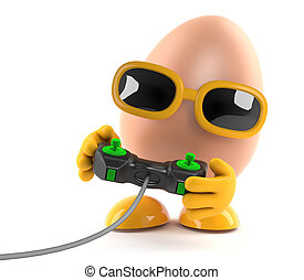 3d Egg plays a videogame with a joystick - 3d rende of an...