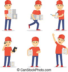 Delivery man vector - Delivery man in differeny poses with...