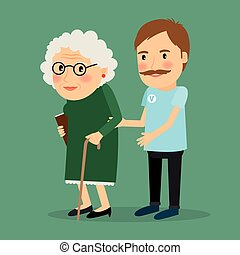 Volunteer man caring for elderly woman and helping her to...
