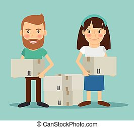 Young couple moving. Man and woman with boxes in their...