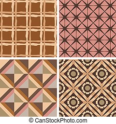 Set of four vector seamless patterns