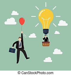 Businessman in hot air balloon fly pass businessman with red balloon