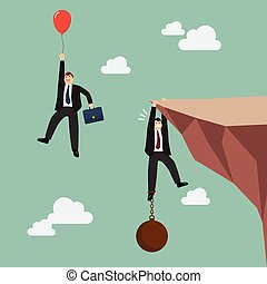 Businessman with red balloon fly pass businessman hold on...