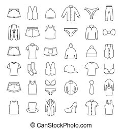 Icons clothes, vector illustration.