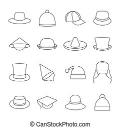 Icons hats - Set Icons hats from thin lines