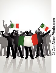 People Holding Italian Flags - Silhouette of crowd of people...