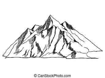 Mountain - Line art or sketch illustration of a mountain