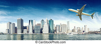 Arriving in New York City. Travel concept