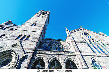 Facade of Old South Church in Boston, MA