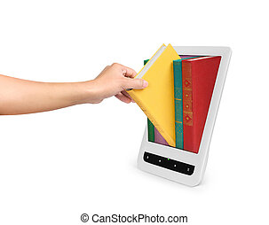 A female hand picks a book from e-books on an isolated white...