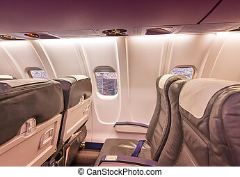 Airplane interior with view on New York City. Tourism and travel concept