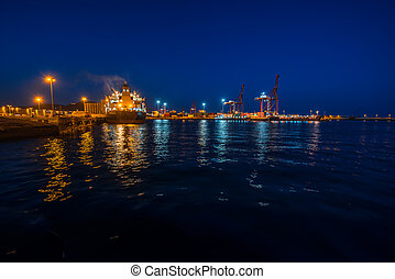 Port in Las Palmas on Gran Canaria island. Nightview with...