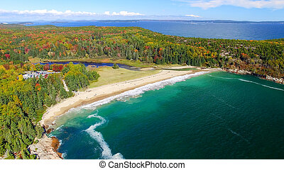 Beautiful aerial panoramic view of Acadia National Park in Maine