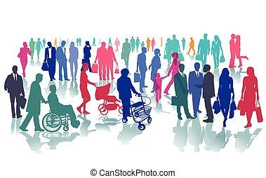 Leute auf einem Platz.eps - People in one place