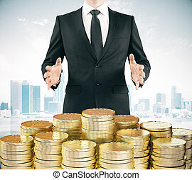 Businessman with pile og gold coins at city backgroound