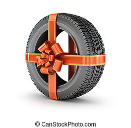 Gift tire is wrapped with a ribbon bow, isolated on a white background