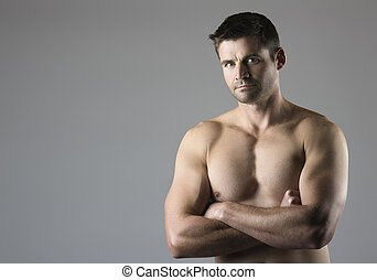 Muscular caucasian man - Portrait of an attractive young...