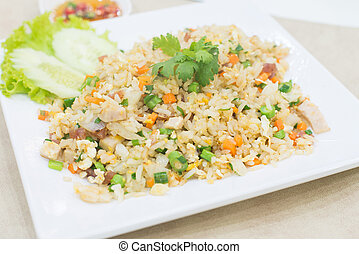 Pork fried rice, Thai food.