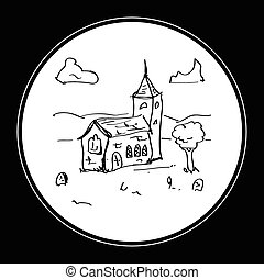 Simple doodle of a church - Simple hand drawn doodle of a...
