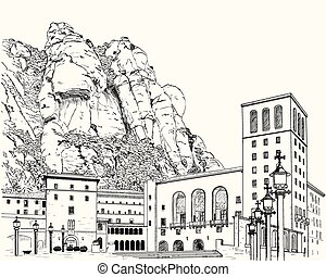 Drawing of Montserrat Monastery in the mountains in Spain