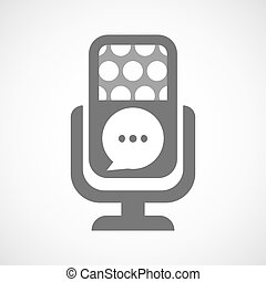 Isolated microphone icon with a comic balloon