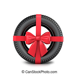 Car tire Wrapped Gift ribbon and bow on a white background.