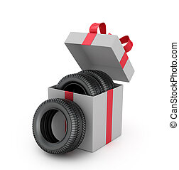 Gift box inside which tires on a white background.