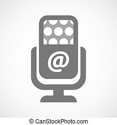 Isolated microphone icon with an at sign