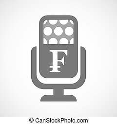 Isolated microphone icon with a swiss franc sign -...