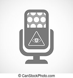 Isolated microphone icon with an all seeing eye -...