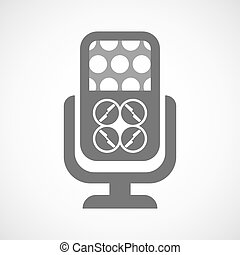 Isolated microphone icon with a drone - Illustration of an...