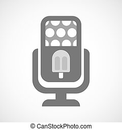 Isolated microphone icon with an ice cream