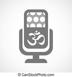 Isolated microphone icon with an om sign - Illustration of...