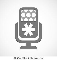 Isolated microphone icon with an asterisk - Illustration of...