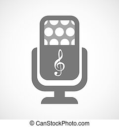 Isolated microphone icon with a g clef - Illustration of an...
