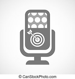 Isolated microphone icon with a dart board - Illustration of...