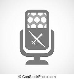 Isolated microphone icon with a war drone - Illustration of...