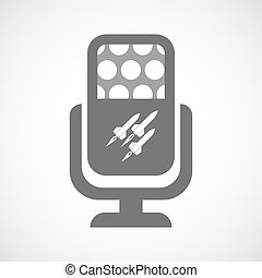Isolated microphone icon with missiles - Illustration of an...