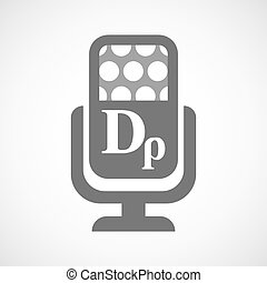 Isolated microphone icon with a drachma currency sign -...